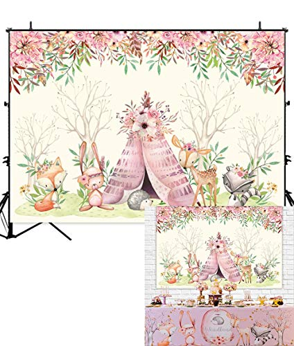 Allenjoy 7x5ft Boho Woodland Backdrop for Baby Shower Kids Birthday Party Cake Table Decor Banner Watercolor Safari Wild Animals Pink Flowers Photography Background Photo Booth Props