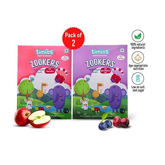 Timios Zookers Mix Flavours | Kids Snacks | Baby Snacks for 12+ Months | Nutritious & 100% Natural Animal Shaped Biscuit | Pack of 2