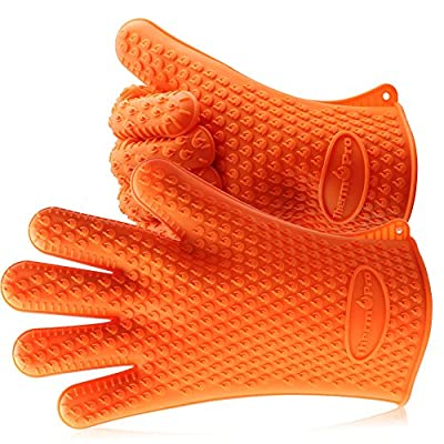 ThermoPro TP100 Silicone BBQ / Cooking Gloves Heat Resistant Up to 392°F, Chef Grilling Accessories Insulated Silicone Oven Mitts Gloves for Cooking Baking Barbecue Potholder - One size fits all