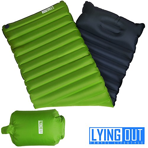 Premium Fast & Easy Inflatable Ultralight Sleeping Pad Camping, Thick insulation mat w/Builtin Pillow & Inflating bag: Compact & Lightweight Air Mattress for Hiking and Backpacking, Closed-cell design by LYING OUT travel lifestyle