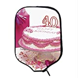 YOLIYANA 40th Birthday Decorations Durable Racket Cover,Pink Cream Cake with Candlesticks Present Surprise Party for Sandbeach,One Size