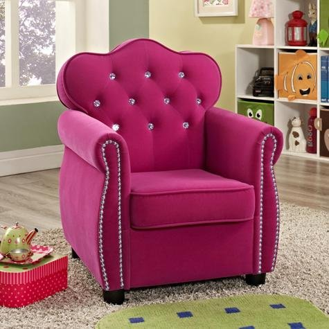 Brand New 21''x 21''x 27''H Amelia Kids Chair -Dark Pink Fabric - 27' Cabinet