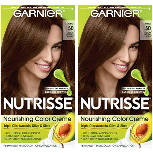 Garnier Nutrisse Nourishing Permanent Hair Color Cream, 50 Medium Natural Brown (Truffle) (2 Count) Brown Hair Dye (Garnier Naturals)