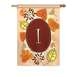 """Brisa Decor–Otoño I inicial Monogram–impresiones de temporada decorativo vertical casa bandera 28""""X 40"""" impreso en EE. UU."""