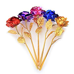 LRRH 9.8inch Gold Foil Rose Flowers,24K Gold Foil Rose,Artificial Rose Flowers in Gift Box,Best Gift for Mother's Day,Valentine's Day,Wedding Day,Birthday,Christmas,Thanksgiving,Home Decor 30