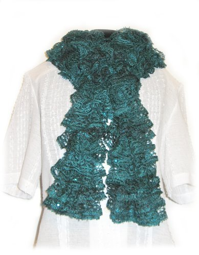 - Fashion Knitted Lacy Ruffle Scarf - Red Hearth Sashey/fuji/teal