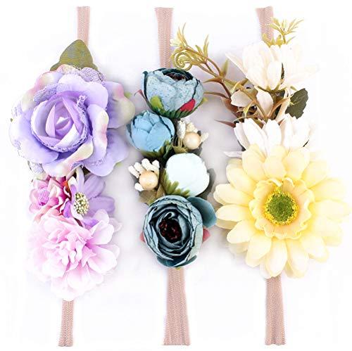 Kingrol 3-Pack Girls Floral Headbands, FashionFlower Crown for Newborn Infant - Headband Infant Flower