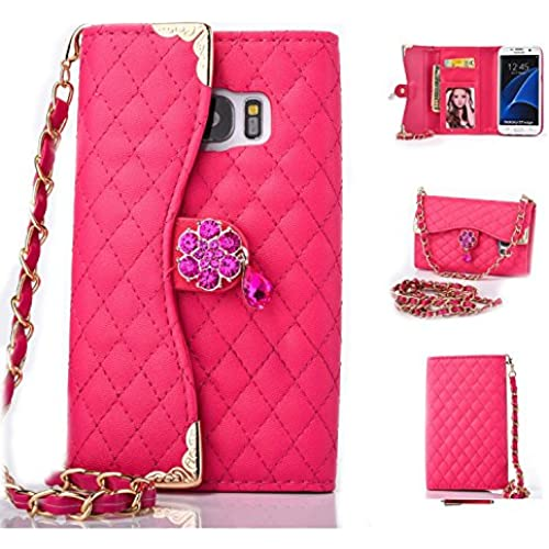 Galaxy S7 Edge Case,HYAIZLZ(TM)Galaxy S7 Edge Wallet Leather Flip Crystal Color Pendants Case for Galaxy S7 Edge With Long Chain,Rose Red Sales