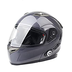 FreedConn Bluetooth Helmet Motorcycle Full Face Modular Flip up Dual Sun visor Integrated Modular Helmet With 500M FM Radio GPS Intercom Communication DOT approved (Gray,X Large)