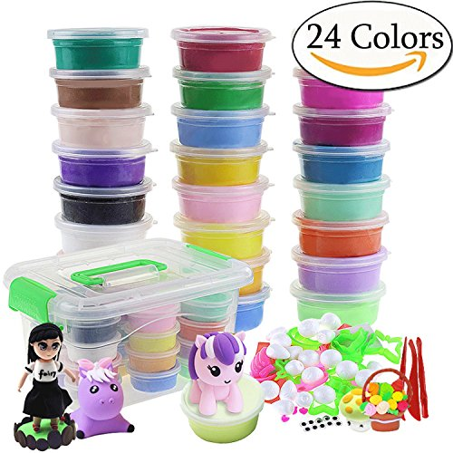 Szsrcywd 24 Colors Magic Ultra Air Dry DIY Modeling Clay Set Craft Kit with Accessories,Non-toxic, Eco-Friendly