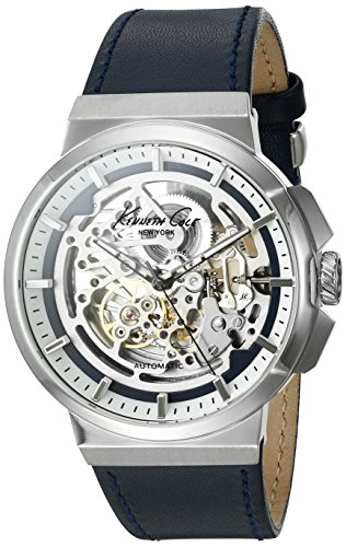 Kenneth Cole New York Men's 'Automatic' Automatic Stainless Steel and Blue Leather Dress Watch (Model: 10022316) (Dress Mens Automatic Watch Jewel)
