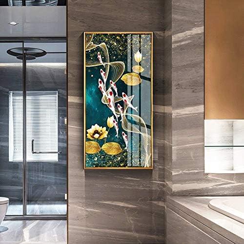 QINQIWD Arte de Pared de Lienzo,9 Koi y Lotus Flowers Pintura ...