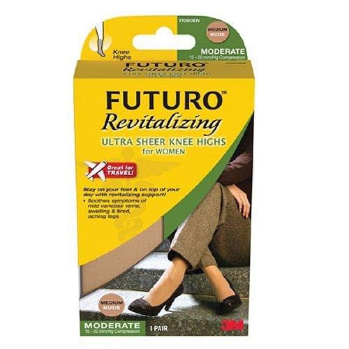 FUTURO Revitalizing Ultra Sheer Knee Highs for Women, Model 71060EN, Nude, Medium, 1 pr Pack of 2 by FUTURO