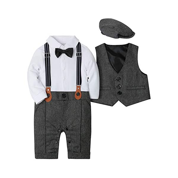 CARETOO Neonato Bambini 3 Pezzi Pagliaccetto + Gilet+ Cappello Formale Gentleman Nozze Suit Smoking Battesimo 3-18 Mesi 1