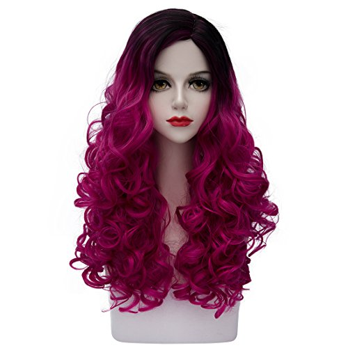 [TopWigy Women's Cosplay Hair Wig Ombre Long Curly Fashion Synthetic 2 Tone Heat Resistant Costume Full Wig (Black to Rose Purple) 24