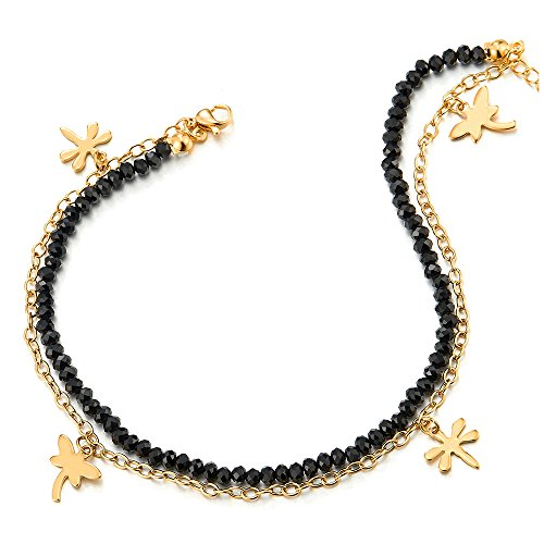 COOLSTEELANDBEYOND Gold Color Steel Black Crystal Beads Chain Two-row Anklet Bracelet with Dangling Dragonflies by COOLSTEELANDBEYOND