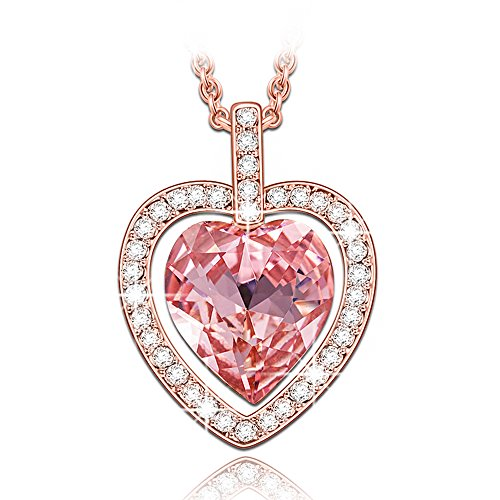 Pink Rose Heart - LADY COLOUR Pink Heart Necklace Swarovski Crystal Rose Gold Tone Jewelry for Women Gifts for Teens Girls Girlfriend Wife Daughter on Chritmas Birthday Anniversary Mothers Day Gifts