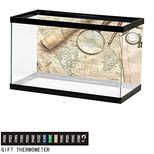 (Suchashome Fish Tank Backdrop World Map,Vintage Style Discovery,Aquarium Background,30