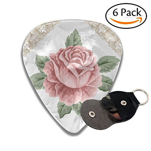 (Wxf Floral Lace Ornate Vintage Rose Petal Floret Shabby Chic Pattern Light Pink Reseda Green Sand Brown Stylish Celluloid Guitar Picks Plectrums For Guitar Bass .96mm 6 Pack)