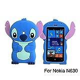 Lumia 520 Case,Lumia 520 Stitch Silicone Case,Tribe-Tiger 3D Cartoon Stitch&Lilo pink Ears Silicon Gel Rubber Case Cover Skin for Nokia Lumia 520