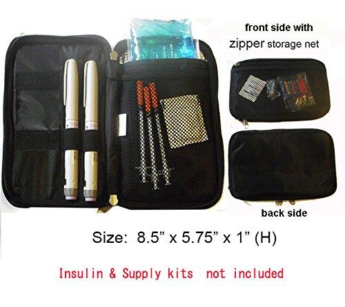 Chill Pack Diabetic/Medication Cooler Travel Case for Insulin Pen/Syringes, 8 oz. Ice Pack, Black Syringe Bag