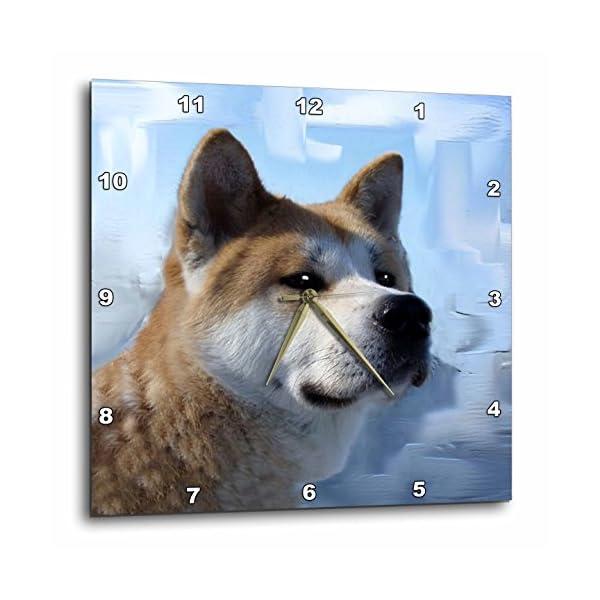 3dRose DPP_4171_2 Akita Portrait-Wall Clock, 13 by 13-Inch 1