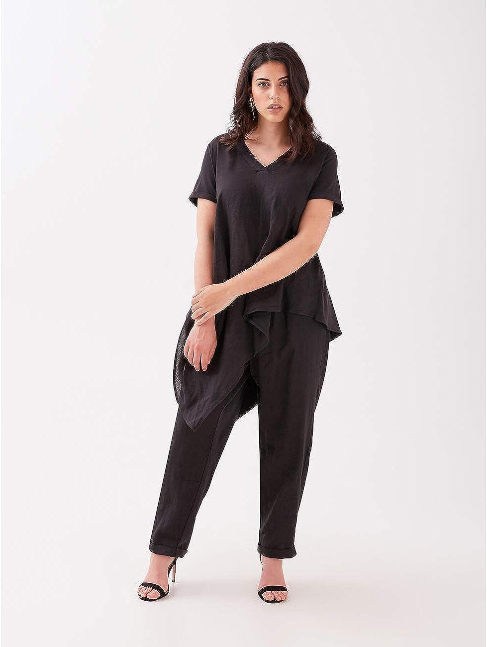 Fiorella Rubino : T-Shirt in Due Tessuti (Italian Plus Size) Nero