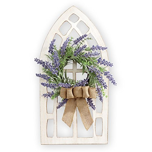 Window Decor (Lavender Wreath Weathered Wooden Window Hanging Wall Art)