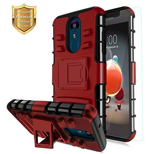 LG Aristo 2 Case,LV3 2018/Aristo 3/K8S/Tribute Empire/Phoenix 4/Tribute Dynasty/Rebel 4/Zone 4/Aristo 2 Plus/Fortune 2/Risio 3/K8 2018 Case+Tempered Screen Protector,Kickstand Dual Layer Case-PC Red