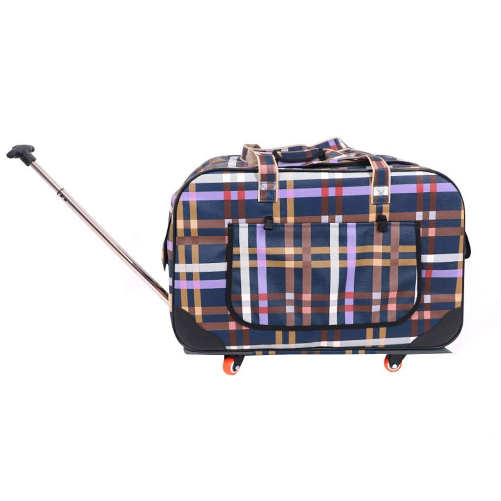 Pet Bag Pet Trolley Bag Ultra-Quiet Pulley Pet Out Portable Dog Backpack Frosted 900d Fabric Plaid 24.2x13.7x15.3 Inches