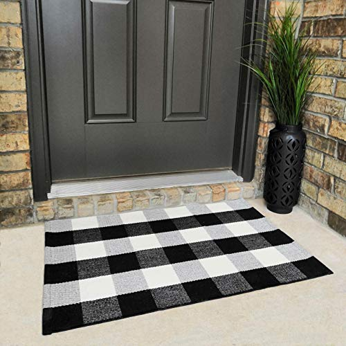 - Cotton Buffalo Plaid Rugs Black and White Checkered Rug Welcome Door Mat (23.6