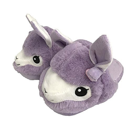 Lama Plush Slipper Llama Alpaca Plush Slippers Womens Juniors Purple (Small)