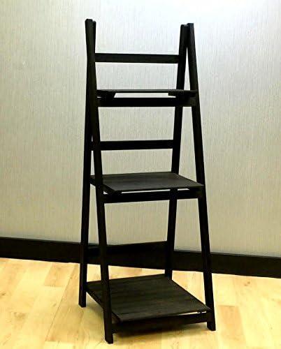 Costello® HQ plegable 3 pisos de madera pantalla estantería escalera estante unidad de almacenamiento casa muebles 3 niveles estantería para libros estantería escalera soporte libre estantes unidad de almacenamiento, color negro: Amazon.es:
