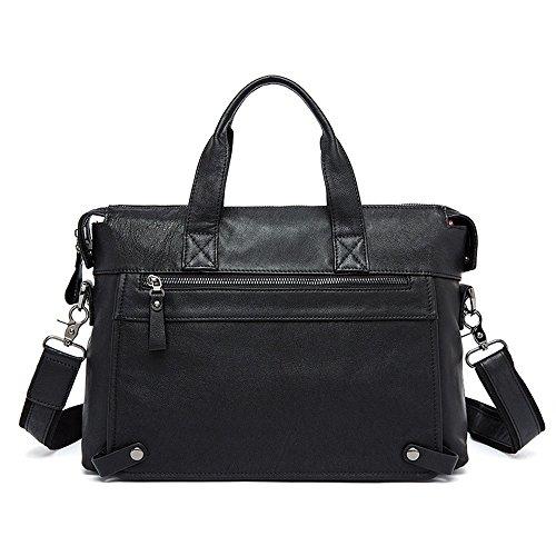 Hombres Retro Piel Genuina Bolsa Para Portátil Ocio Casual School Satchel De Viaje Al Aire Libre Hobo Messenger Shoulder Bag (Color : Marrón) Negro