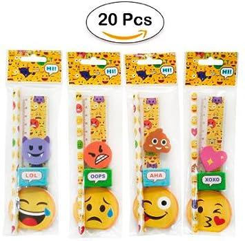 Lote de 20 Sets de 5 Pcs Papelería Emoticonos De Regalo - Regalos, recuerdos y Detalles Originales Niños Comuniones Cumpleaños, Fiestas Colegios