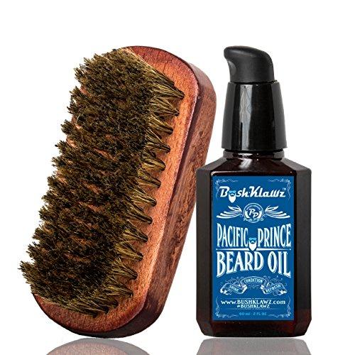 Pacific Prince Beard Oil Conditioner & BoarKlawz Beard Boar Brush Gift Set Beard Care Kit Mens Beard Grooming Bundle Set - Best Bearded Man Daily Grooming Starter Set