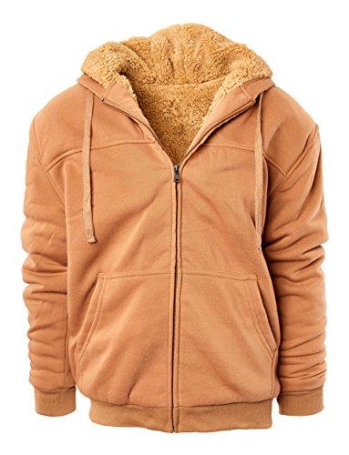 Fresh Groove Heavyweight Sherpa Lined Full Zip Men's Fleece Hoodie (Camel,XL)
