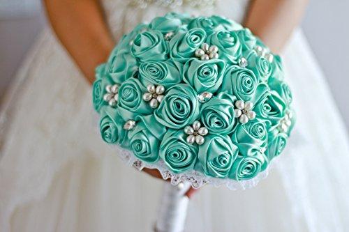 Ivory, blue, coral, T blue,Red Rose flower bridal brooch bouquet Wedding Bride 's Jewelry crystal Pearl Rhinestone Cloth fabric Bouquets (Tiffany - Tiffany Imitation