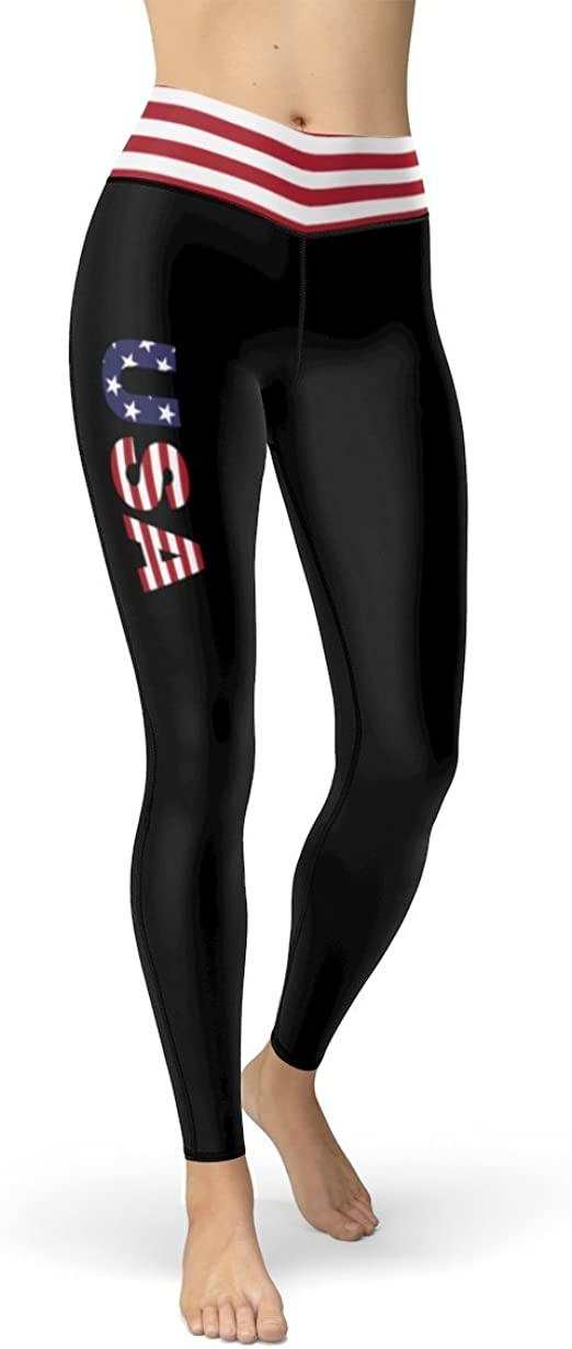 Patriotic USA Black Leggings with Red /& White Stripes from USA Flag Waistband Cut /& Sew Sport Leggings