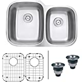 Ruvati RVM4310 Undermount 16 Gauge 32  Kitchen Sink Double Bowl, Stainless Steel