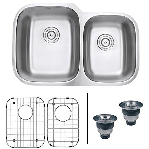 Thickness Gauge Stainless 16 Steel - Ruvati 32-inch Undermount 60/40 Double Bowl 16 Gauge Stainless Steel Kitchen Sink - RVM4310