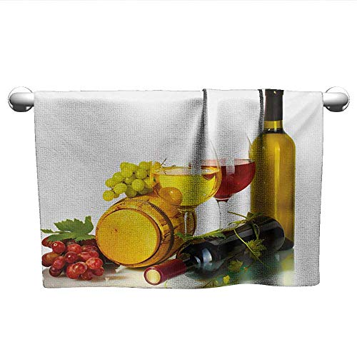 (alisoso Wine,Kids Swimming Towels Composition with Small Barrel Two Types of Grapes Drinks Beverage Product Bath Towels for Kids Red Yellow Pale Green W 10