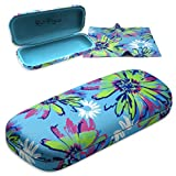 Floral Medium Protective Hard Shell Glasses Case for Eyeglasses and Sunglasses with Microfiber Cleaning Cloth by Rachel Rowberry (Pop Flower)