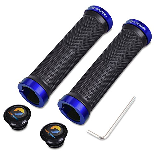 Handle Rubber Grip (TOPCABIN Double Lock on Locking Bicycle Handlebar Grips Cycle Bicycle Mountain Bike BMX Floding (a Pair) Blue Gold Red (Blue (a pair)))