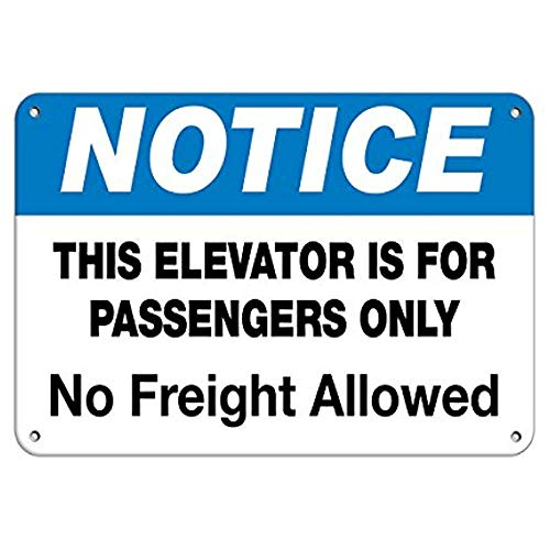 Dreamawsl Notice Board Notice Elevator for Passengers No Freight Allowed Aluminum Metal Sign.16 x 12 tin Sign