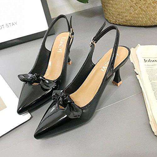 Mode Hauts Cuir Chaussures Pour De Saisir Talons Femmes 35 Pointe Noir Revtues Fine La H81xXq1Pw