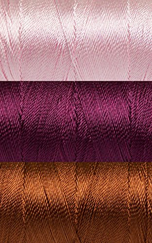 Rose Cottage Thread Set - 3 Spools, Size 12, 3ply, 25 Gram each, 328 Yards each, Pin, Wine, Brown Polyester Embroidery Cross Stitch (Polyester Thread 12 Spools)