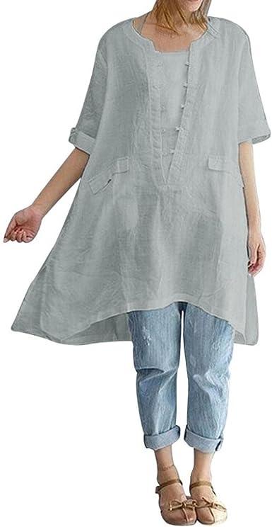 K-Youth Camisa Mujer Talla Grande Suelta Dobladillo Irregular Retro Blusa Blanca Mujer Manga Corta Camisetas de Lino para Mujer Casual Tops T-Shirt: Amazon.es: Ropa y accesorios