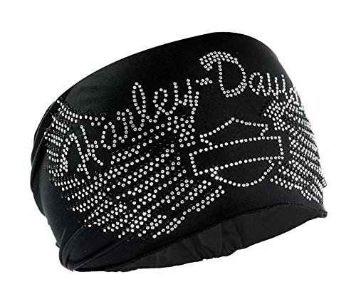 HARLEY-DAVIDSON Women's Headband Scrunchie, Studded Bar & Shield Wings HE07430 Black (Motorcycle Helmet And Boots)