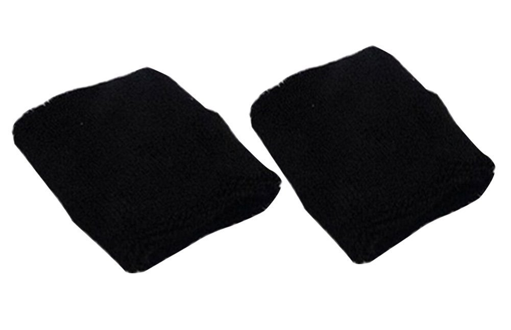 Cdet 1Par Pulsera de entrenamiento algodón banda de sudor de muñeca deportes baloncesto wristband sweatband Interior al aire libre yoga dance ejercicio,Negro